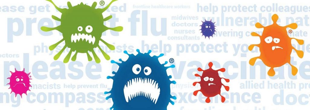 Flu banner showing colourful cartoon germs